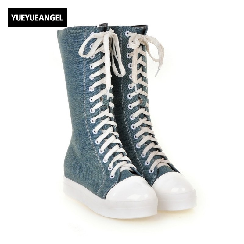 Preppy Lace Up Girls Canvas Mid Calf Boots Comfort Thicken Flat Heel Denim Womens Casual Shoes Creeper Platform Street Footwear ...