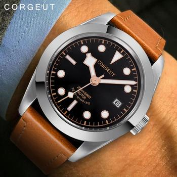 corgeut Men Watches Automatic Mechanical Watch male Sport Clock Leather Casual Business luminous Wristwatch Relojes Hombre