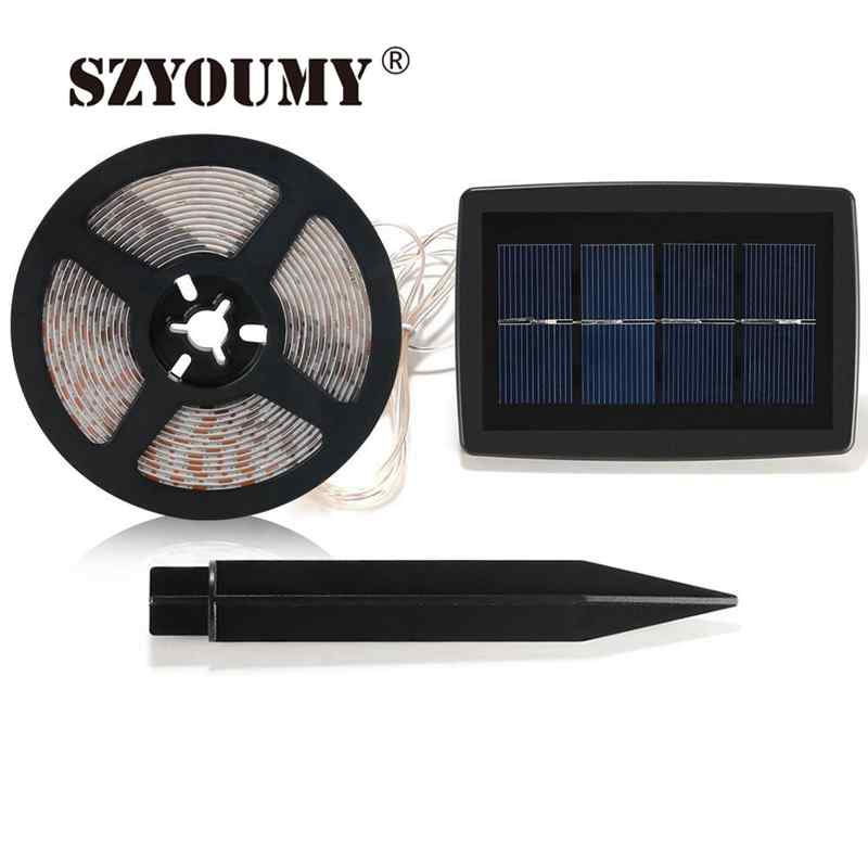 Outdoor Waterproof Solar Led Strip Light Smd 5050 5m: SZYOUMY Solar Powered LED Strip Light 5M 100 LED SMD 2835