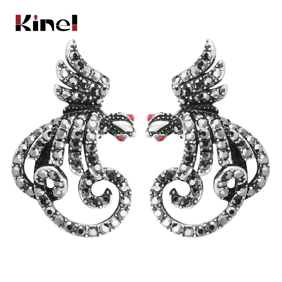 earrings lover fashion black sterling silver for women stud earring item trendy from jewelry crystal in snake with new gift