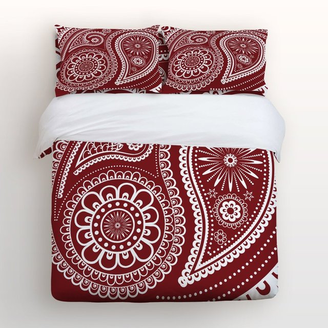 4 Piece Bed Sheets Set Wine Red And White Geometric Fl Paisley Design 1 Flat Sheet Duvet Cover 2 Pillow Cases