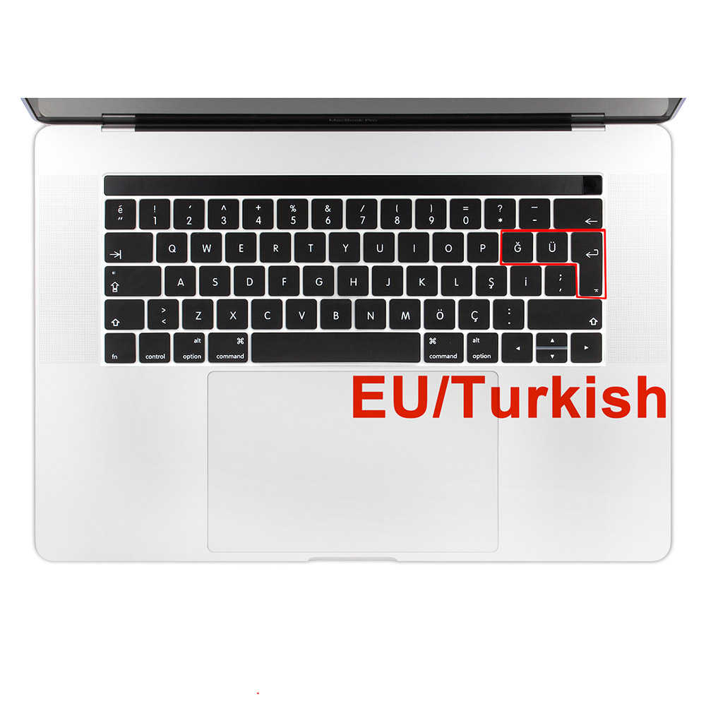 2016 & 2017 New EU Version Turkish Q Ultra Thin Silicone Keyboard Cover Skin for Macbook Pro 13 15 A1706 A1707 with TouchBar2016 & 2017 New EU Version Turkish Q Ultra Thin Silicone Keyboard Cover Skin for Macbook Pro 13 15 A1706 A1707 with TouchBar