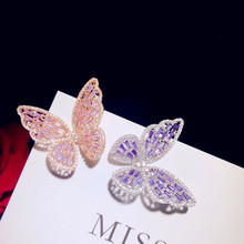 Brooches For Women S925 Sterling Silver Hollow Pink Purple Butterfly Temperament Cubic Zirconia Brooch Temperament Bijoux Femme(China)