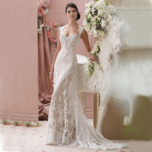 Real Photos 2016 Sexy White Lace Wedding Dress Backless Sleveless Mermaid Wedding Bridal Gowns Sweep Train