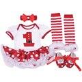 Christmas Romper Set festival clothing Roupa Infantil Menina Bebe Girl Bodysuit Sock Shoe Handband 4 Pcs Christmas Romper SeC