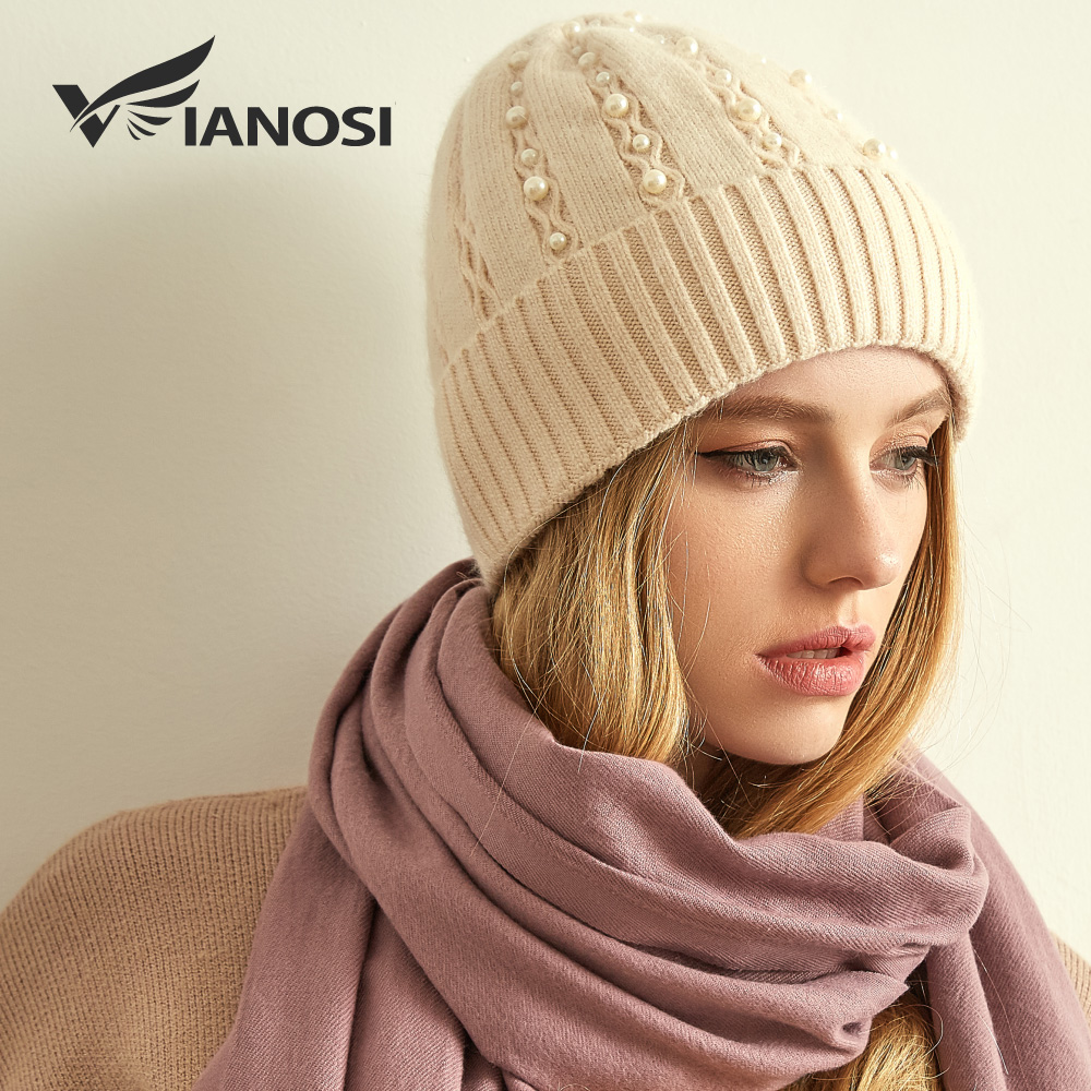 VIANOSI Women's Hats Female Wool Casual Winter Brand Gorros Mujer Invierno Thick Knitted Girls Skullies Beanies