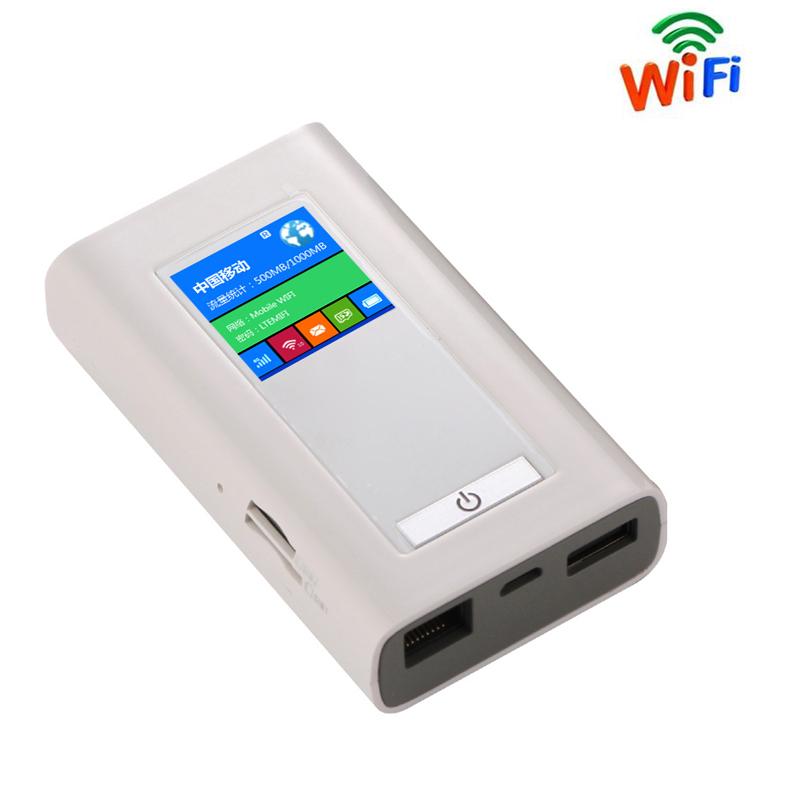 Prix pour Sans fil Modem 4G Wifi Routeur Portable Mifi FDD-LTE GSM Mondial Déverrouiller Dongle 5200 MAh Puissance Banque Deux SIM Fente Pour Carte RJ45 Port
