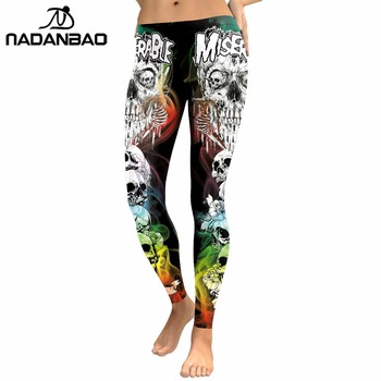 NADANBAO 2019 New Arrival Skull Head Women Leggings Letter Gradient Digital Print Pants Slim Fitness Workout Woman Leggins 2