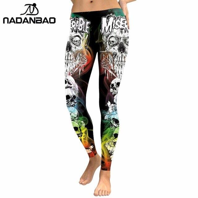 NADANBAO 2019 New Arrival Skull Head Women Leggings Letter Gradient Digital Print Pants Slim Fitness Workout Woman Leggins 2