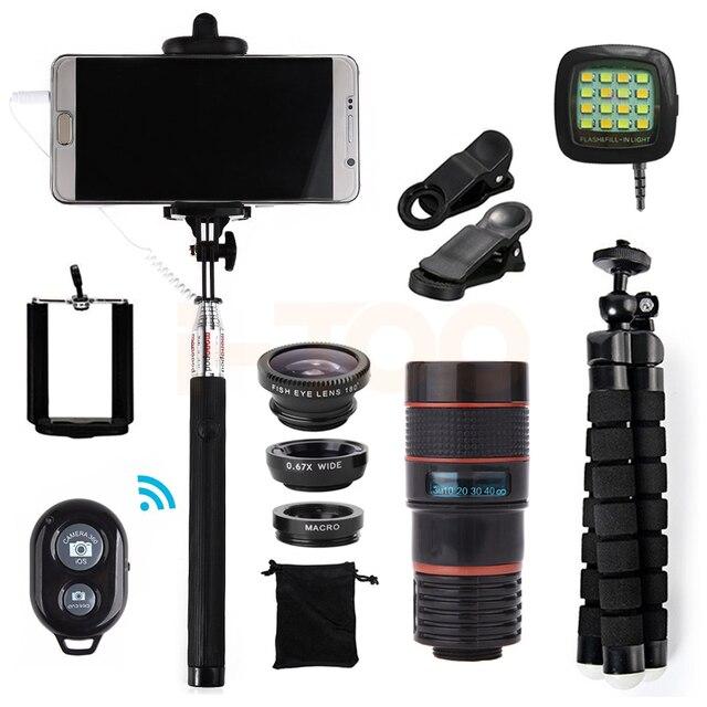 2017 Kit de Lente de Telefone 8x Zoom Telefoto Lentes Olho de Peixe Grande Angular clips de lentes macro tripé selfie flash light para iphone 7 xiaomi