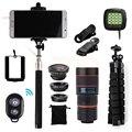 2017 Kit de la Lente Del Teléfono 8x Zoom Teleobjetivo Lentes de ojo de Pez de Gran Angular lentes macro trípode clips selfie flash de luz para iphone 7 xiaomi