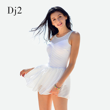 2017 New Sexy Black Transparent Striped One Piece Swimsuit Skirt Woman High Neck Swimwear Cut Out Backless Beach Dress White XL