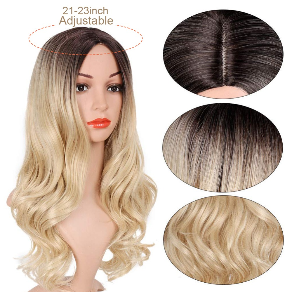 Pageup Middle Part Ombre Blond Wig For Women Heat Resistant Fiber Ladies Daily Cosplay Long Wavy Hair Curly Synthetic Blonde Wig (5)