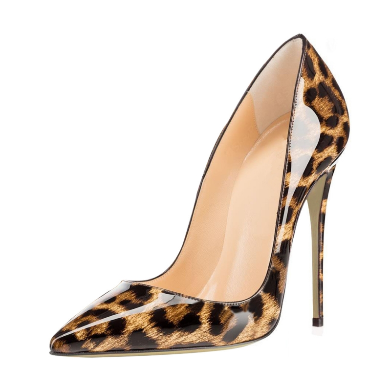 Sexy Thin High Heels Ladies Pumps Pointed Toe Spring Autumn Genuine Leather Wedding Party Women Shoes Leopard Big Size SR-A0006 pointed toe high heels nubuck leather winter deep mouth thin heel big size mature leopard print stilletos shoes for women