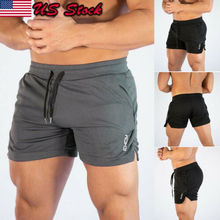 2019 Men Fitted Shorts Bodybuilding Workout Gym Running Tight Lifting Hot Sale