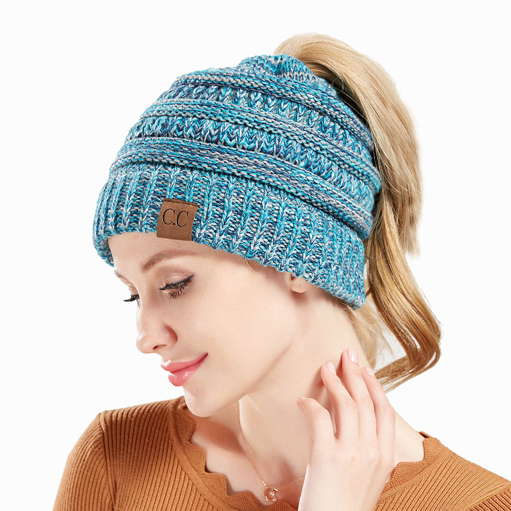 fe501639fc5 ... CC Ponytail Beanies Winter Hat Female Stretch Cotton Knit Hats Autumn Caps  Women Messy Bun CC Ponytail Beanie Holey Warm Hats