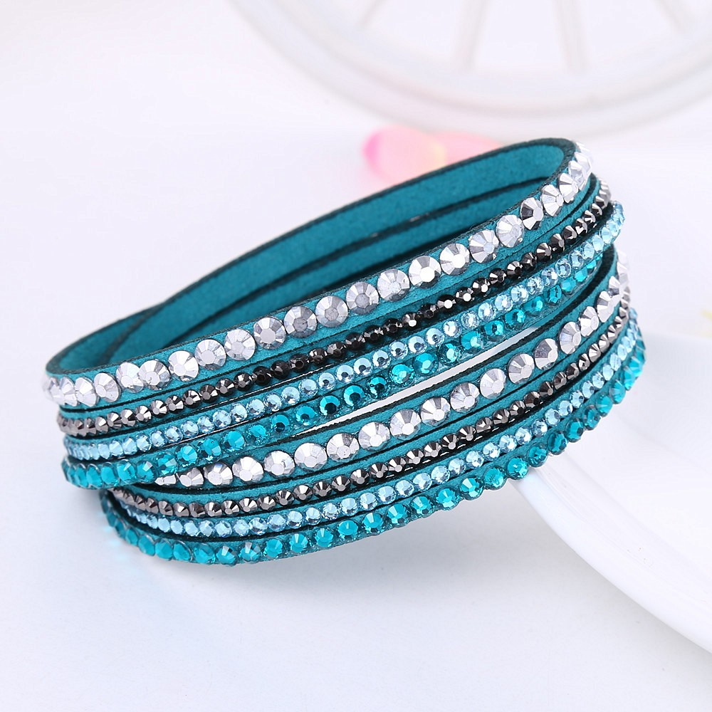 2016 New Leather Bracelet Rhinestone Crystal Bracelet Wrap Multilayer Bracelets for women feminino pulseras mulher Jewelry 5