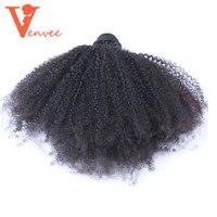 4B4C Moğol Afro Kinky Kıvırcık Saç Örgü 100% Doğal İnsan Saç Demetleri 1 Parça Virgin Uzantıları Venvee