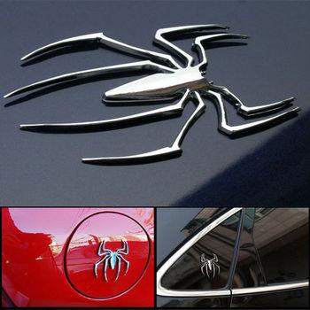 1 PC metalowe naklejki samochodowe 3D kształt pająka godło Chrome Truck Auto Motorcyle kalkomania uniwersalne akcesoria do stylizacji samochodu