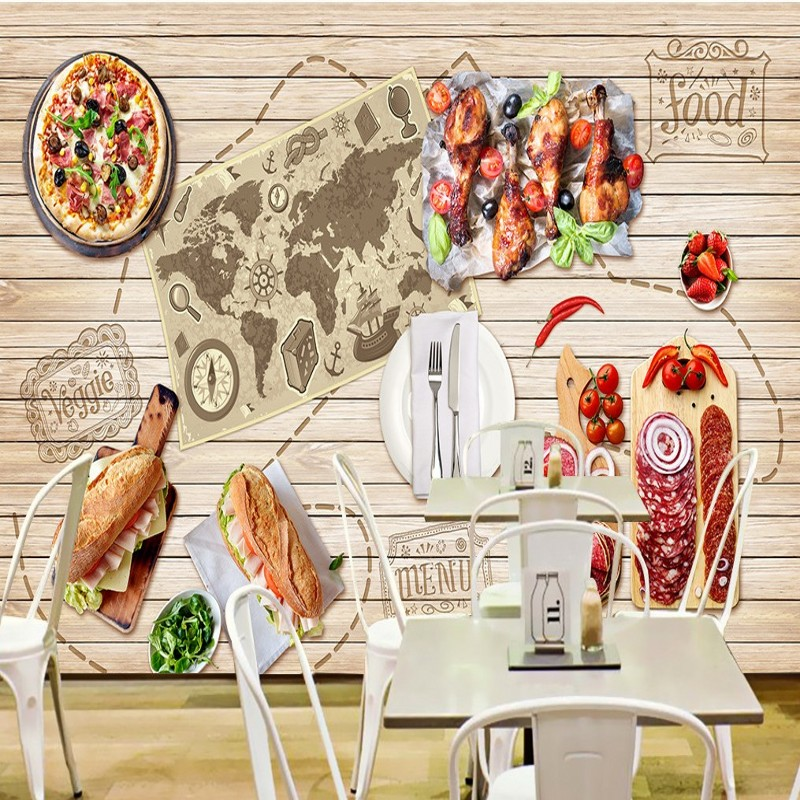 Custom photo wallpaper Gourmet Map Restaurant Background Wall mural Pizza shop fast food shop kitchen wallpaper HD board mural custom photo wallpaper large mural retro old newspaper english letter bar hot pot restaurant background wall wallpaper mural