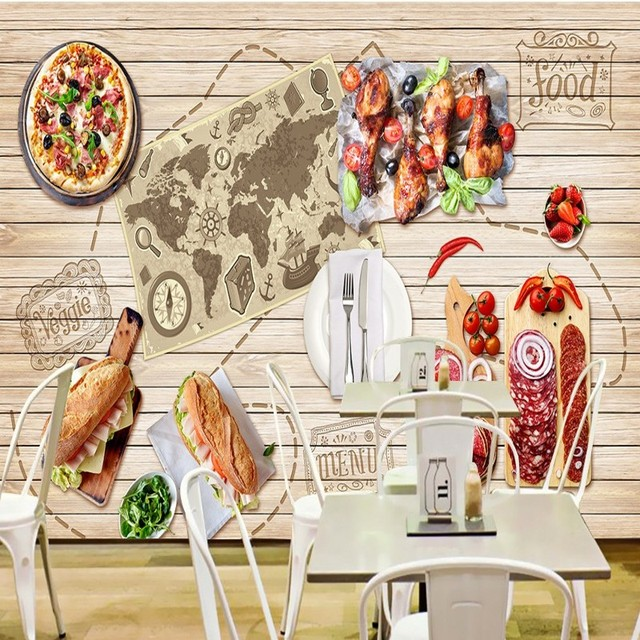 Kitchen Design Hd Wallpapers: Custom Photo Wallpaper Gourmet Map Restaurant Background Wall Mural Pizza Shop Fast Food Shop