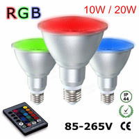 E27 Par30 10W / Par38 20W RGB LED Spotlight Dimmable AC85V 265V Umbrella Lamp aluminum & glass waterproof Remote Control Bulb