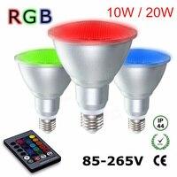 E27 Par30 10W / Par38 20W RGB LED Spotlight Dimmable AC85V 265V Umbrella Lamp aluminum & glass waterproof Remote Control Bulb
