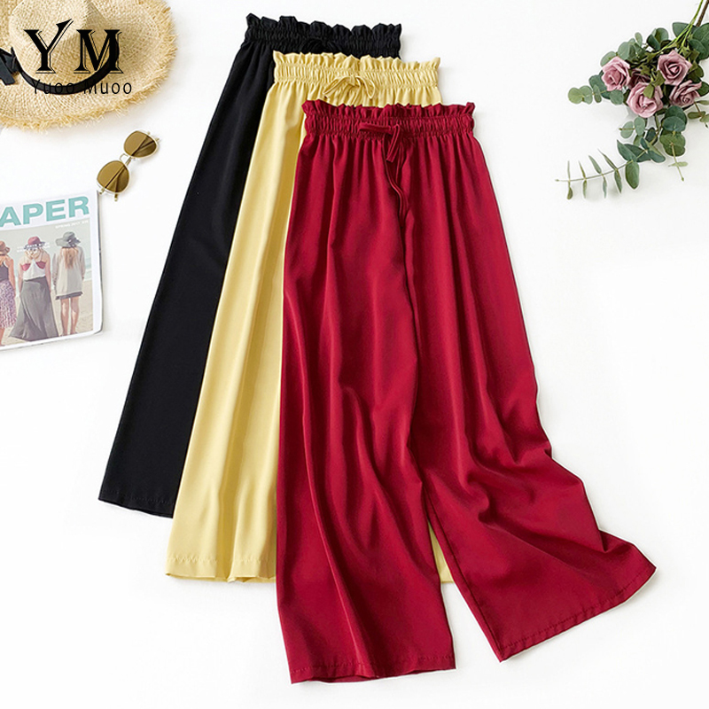 YuooMuoo High Quality Comfy Lady Wide Leg   Pants   Women Summer 2019 High Waist Trousers Chic Streetwear Sash Casual   Pants     Capris   f