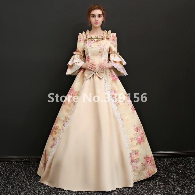 Haut de gamme Victorienne Gothique Costume De Noël Carnaval Robes Marie  Antoinette Impression Robe Rococo Robe b18a80113b8