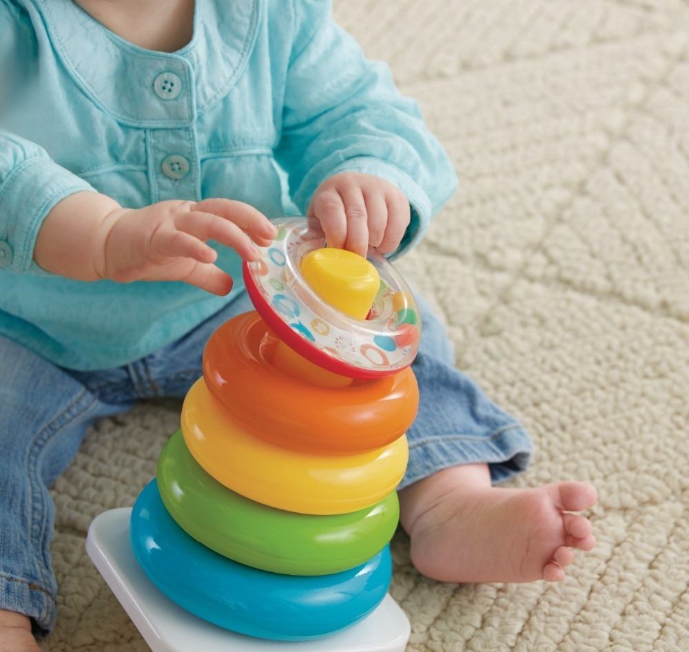 Baby Toys 0-36 Months Educational Stack Up Nesting Rainbow Tower Ring Learning Brilliant Basics Rock-a-Stack Rattle Toy