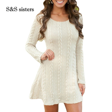 S&S sisters Women Sweater Dress Oversized Long Sleeve Pink Knitted Sweater Casual Pullovers Ladies Clothing Tops Winter Knitwear