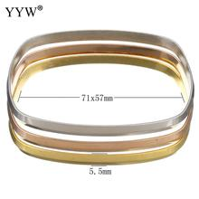 Top Quality Gold color Bangle Multilayer Square Stainless Steel Women Bracelet Fine 3PCs/Set Jewelry