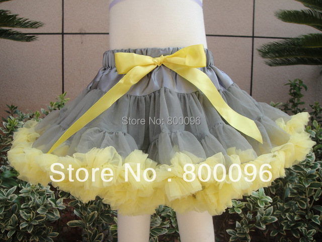 Fashion cute pettiskirt  tutu baby skirts Children Clothing Grey Yellow bow PETS-150
