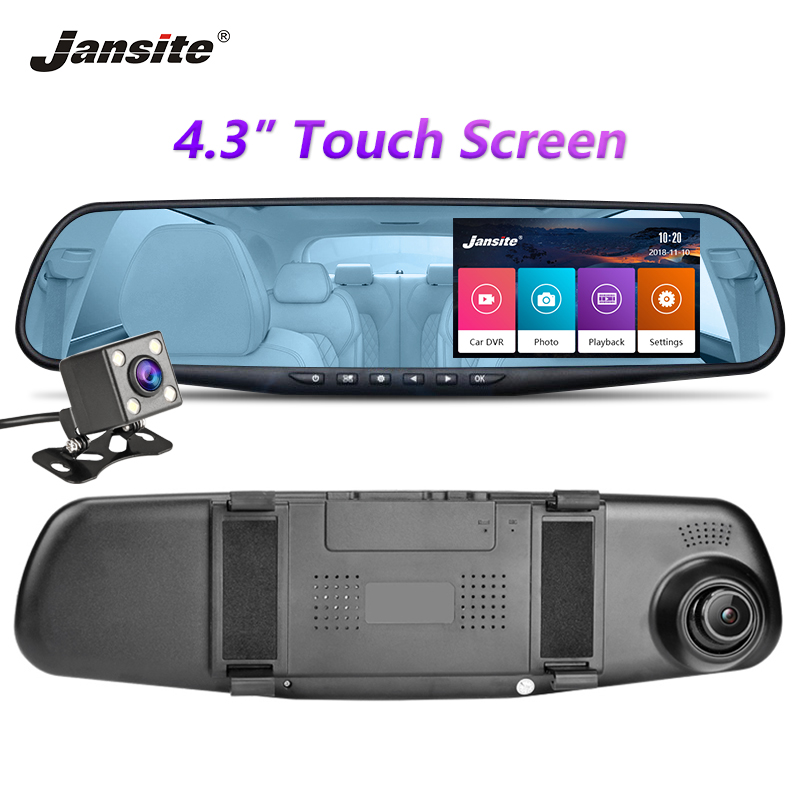 Jansite Car DVR Dual Lens Touch Screen FHD Car Camera Video Recorder Rearview Mirror With Rear View DVR Dashcam Auto Registrator