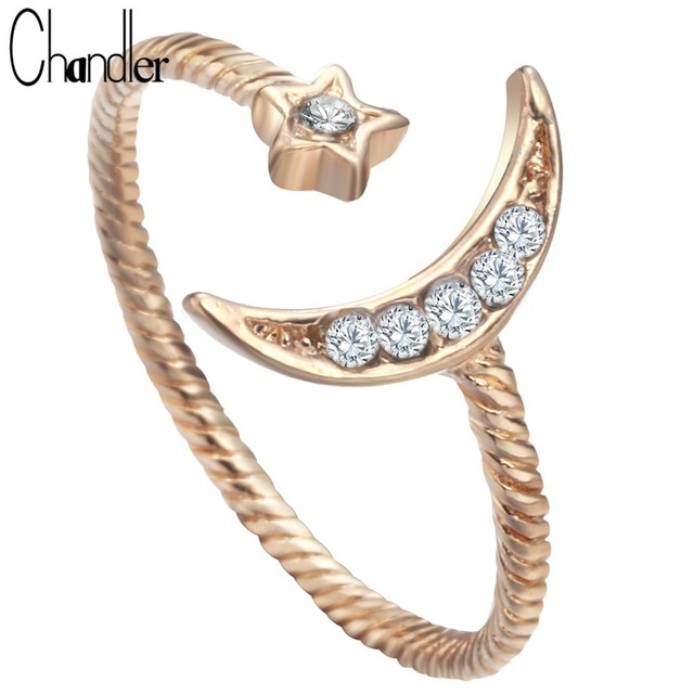 Chandler Gold Silver Plated Moon Star Rings With CZ Crystal Twist Wedding Band Simple Knuckle Finger Open Love Bague For Women