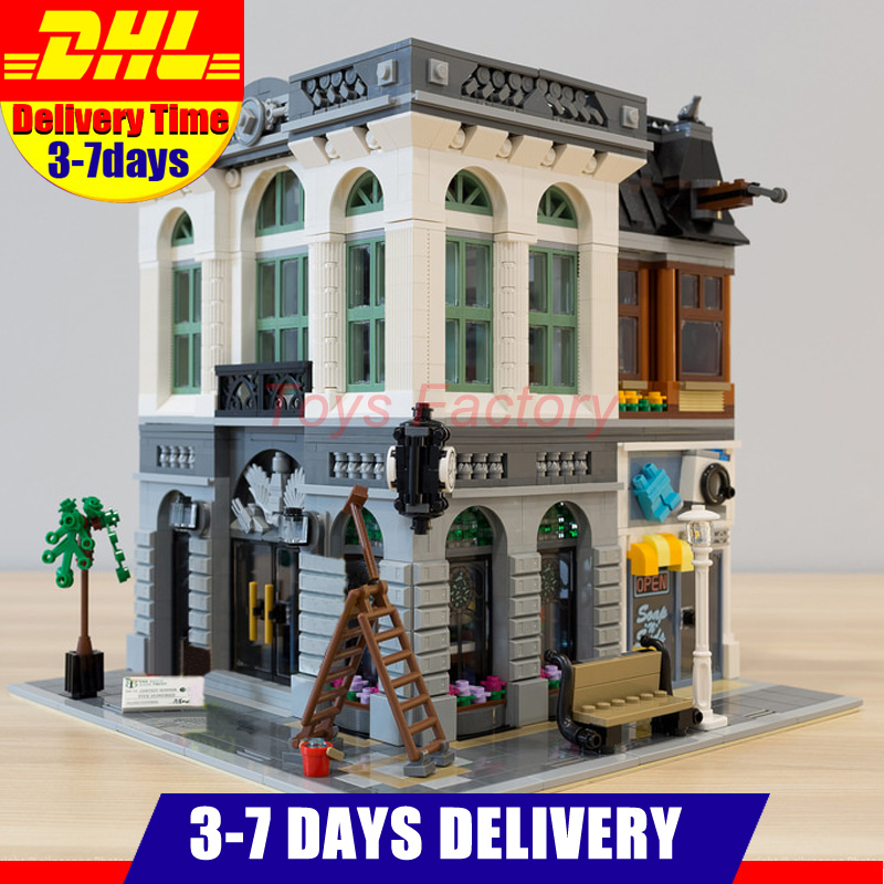 2018 DHL LEPIN 15001 City Street Clone Brick Bank Building Blocks Toys Modular City Series Model Kids Gift Compatible 10251