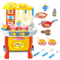 51cm Height Kids Kitchen Toys Pretend Play Cooking Toys Tableware Set Baby Kitchen Cooking Simulation Model Plastic Toy Set Gift