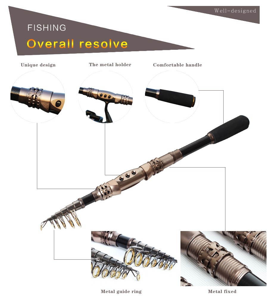 Carbon fishing rod travel telescopic fishing pole spinning for Ocean fishing pole