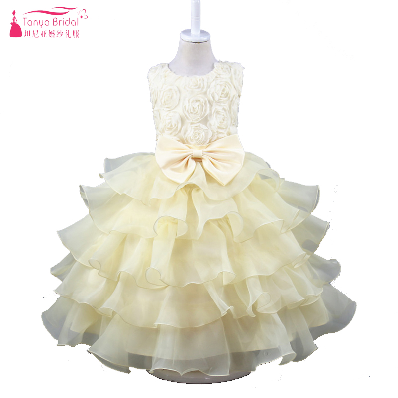 Beige Ball Gown Flower Girls Dresses 8 Colors Ruffly Lovely Organza vestido de daminha Real In Stock for party and wedding ZF002