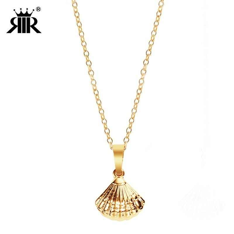RIR Stainless Steel Gold Silver Shell Shape Charm Necklace Unique Shell Pendant Wedding Jewelry For Women