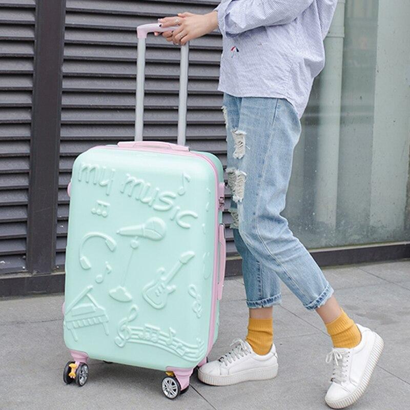 Оптовая продажа! 20 дюймов модные музыка печатных Hardside путешествия камера на Универсальный колеса для обувь для мужчин и женщин, розовый/зел...