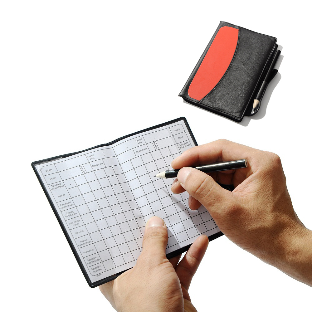 Soccer Referee Gear Red Yellow Card Sports Notebook With Pencil Personalized Sport Match Football Sheet free shipping ...