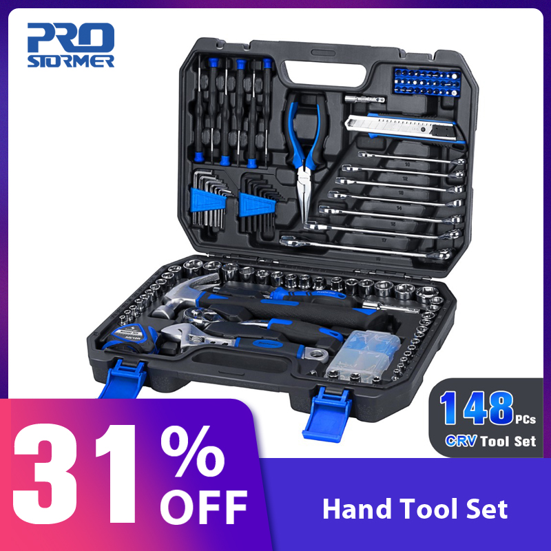 Prostormer 148 Pcs Household Hand Tool Kit Car Repair Tool with Storage Toolbox Socket Wrench Tool Set Auto Repair Mixed Tool
