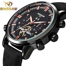 BINSSAW Men Automatic Mechanical Watch Tourbillon Fashion Brand Casual Calf Leather Military Sport Watches Relogio Masculino