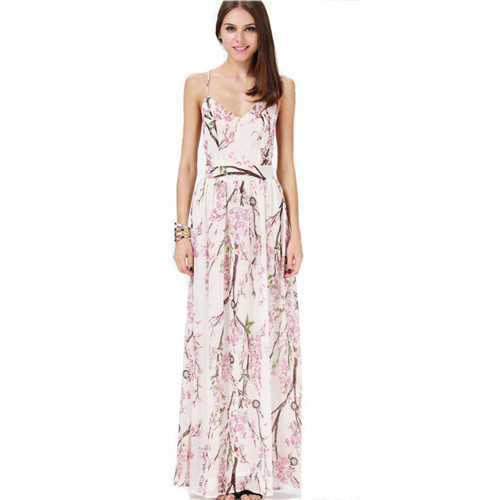 65da40d2fa SHD021 Bohemia Apricot Spaghetti Strap Backless Floral Printed Runway  inspired Vintage Beyonce Semi Formal Fancy Maxi Dress