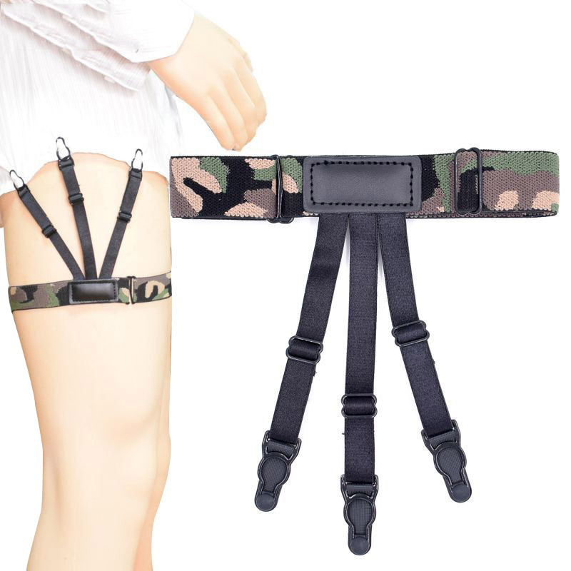 Mens Shirt Suspenders Camouflage Shirt Stays Holders Garters For Men Military Police Non-slip Clamps Locking Clips Skin-friendly