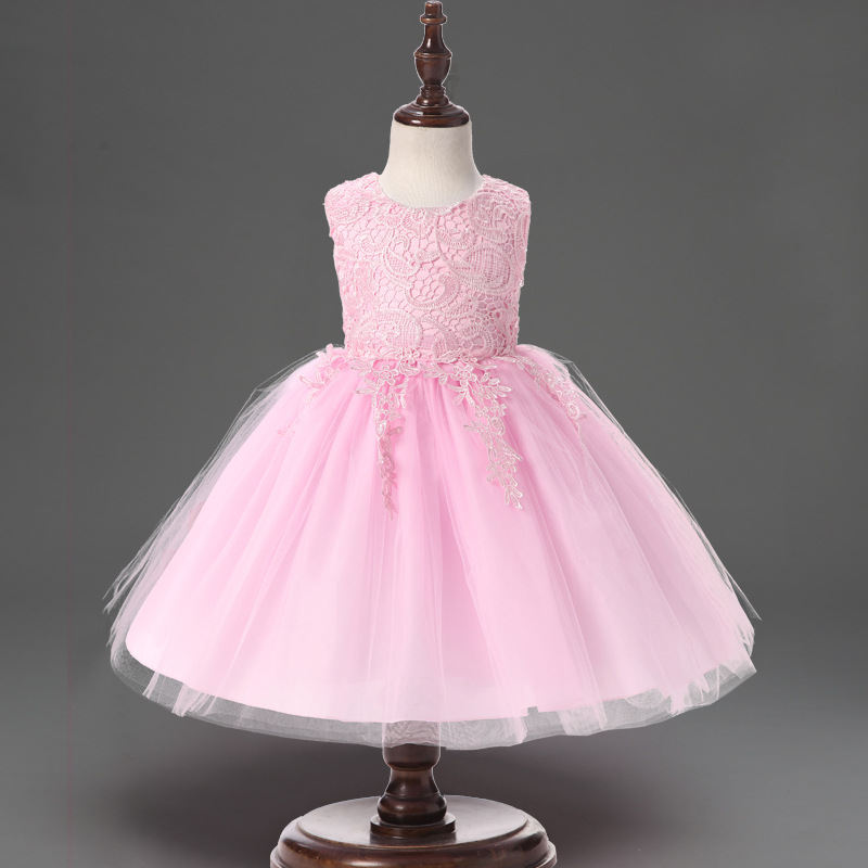 Flower Girl Dress Summer 2017 New Girls Birthday Wedding Party Princess Floral Bow Dresses Kids Tutu Mesh Costume Vestido Cloth new summer christmas costume bow girl party dress wedding birthday girls dresses tutu style princess clothes for children 3 8t page 7
