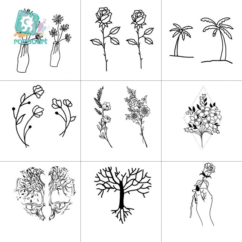 Rocooart Black White Style Tattoo Sticker Tree Flower Leaf Temporary Tattoo Sticker Rose Body Art Tatouage Fake Tatoo