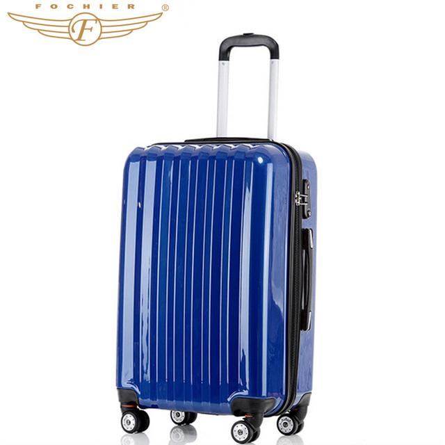 """2017 NUEVO 1 unidades 28 """"pulgadas ABS + PC Cáscara Dura Equipaje de Viaje Maleta En Azul Color Sólido Elegante Equipaje Rodante Fochier"""