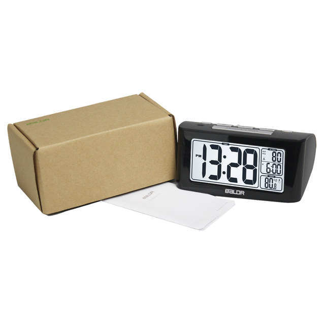 Baldr LCD Digital Nap Timer Temperature Time Display Watch Bedroom White  Backlight Travel Table Thermometer Snooze Alarm Clock